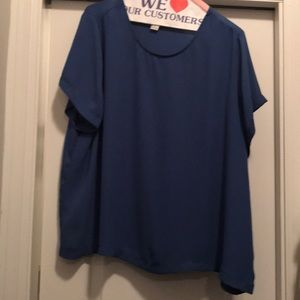 Short sleeve blue chiffon top